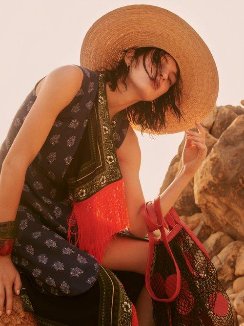 Bina Sleeveless Scarf Print Stretch Cady Dress by Altuzarra