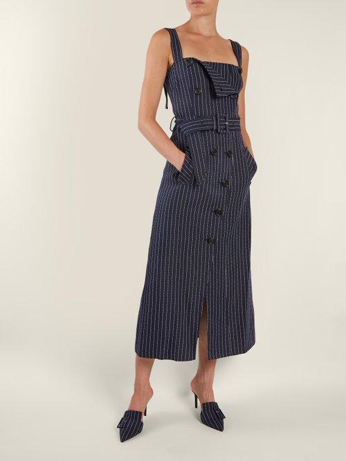Audrey square-neck pinstriped midi dress by Altuzarra