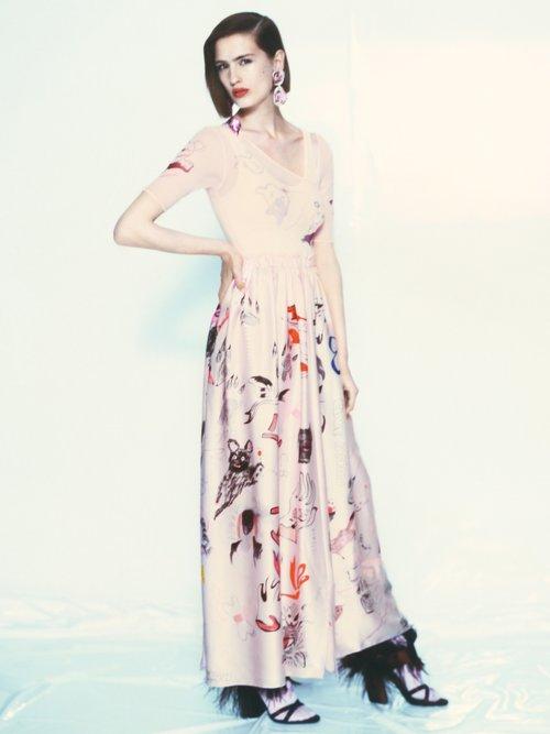 Animal-print strapless silk-satin dress by Claire Barrow