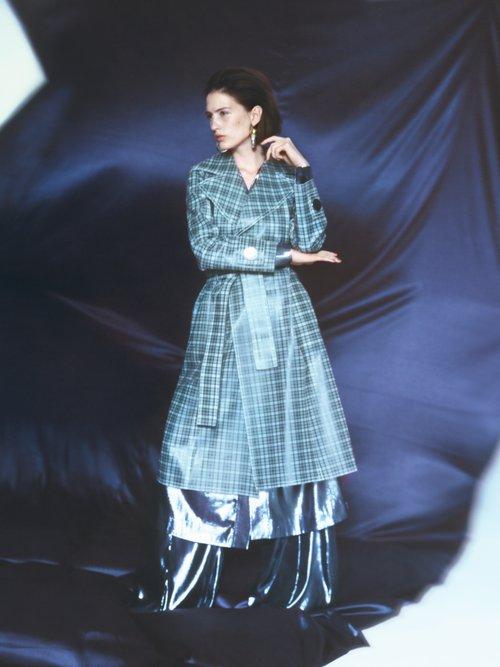 Tie Waist Coated Tartan Trench Coat by Wanda Nylon