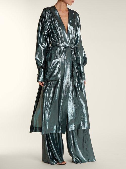 V-neck belted side-slit silk-blend dress by Wanda Nylon