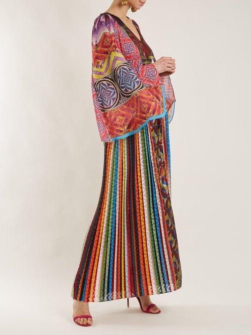 V-neck long-sleeved zigzag-print dress by Mary Katrantzou