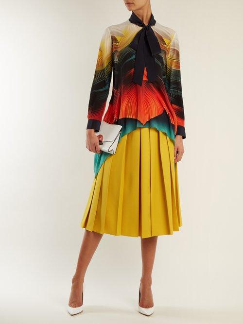 Hearts feather-print silk-crepe blouse by Mary Katrantzou