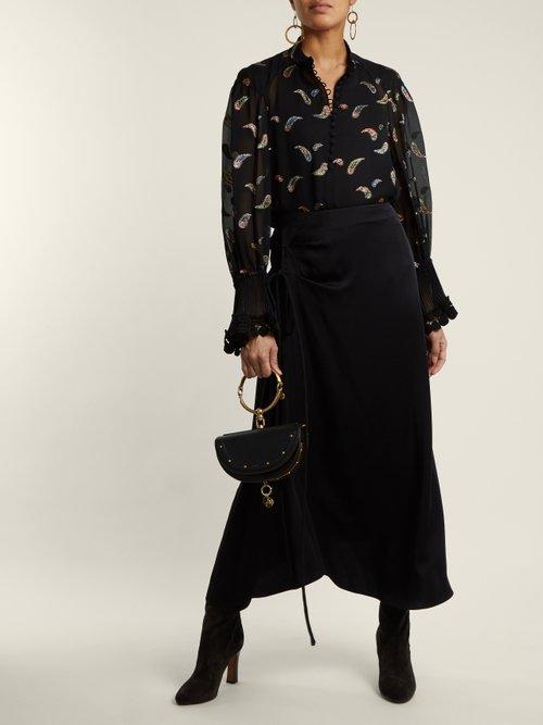 Paisley-jacquard chiffon blouse by