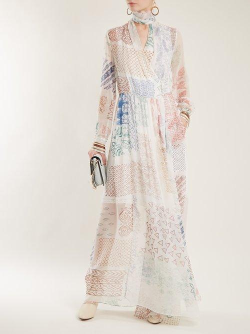 Block-print silk-georgette dress by