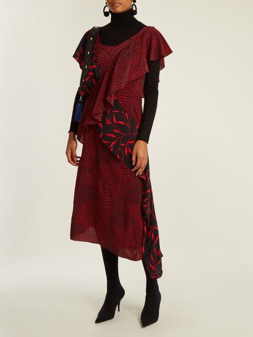 Easton Dot and Shelton-print silk dress by Diane Von Furstenberg