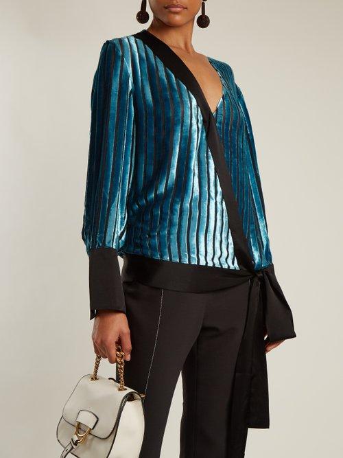 Crossover-front striped velvet top by Diane Von Furstenberg