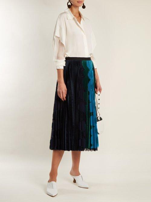 Sheer-sleeve silk crepe de Chine shirt by Diane Von Furstenberg