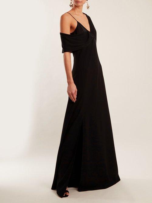 Contrast-panel V-neck crepe gown by Diane Von Furstenberg