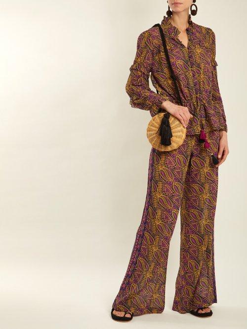 Photo of Estela Paisley Print Cotton Blend Trousers by Figue - shop Figue online sales