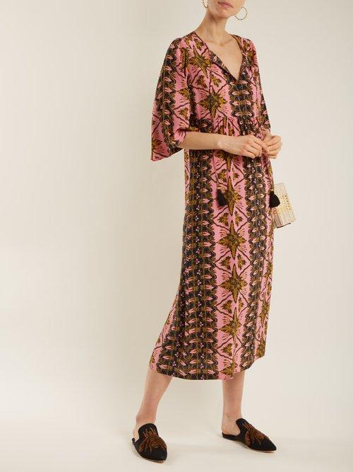 Shop Figue Maribella star-print silk dress online sale