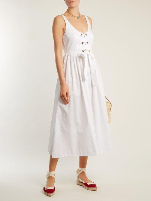 Photo of Athena Lace Up Cotton Dress by Mara Hoffman - shop Mara Hoffman dresses online sales