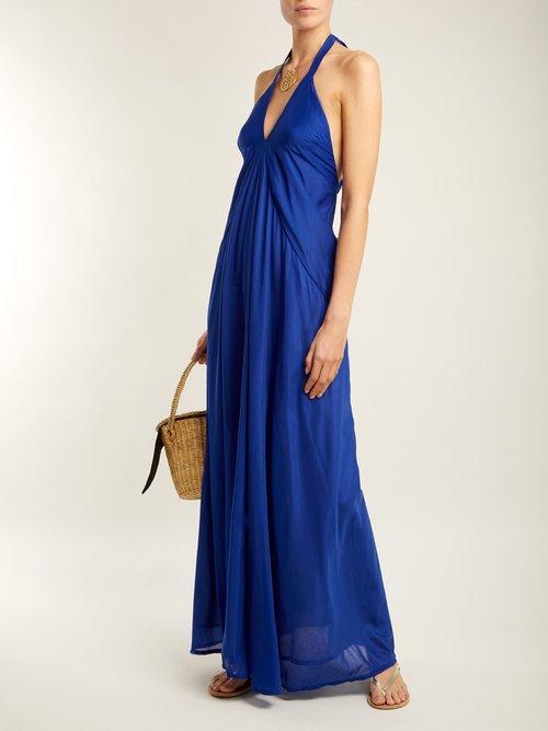 Casie halterneck cotton-blend dress by Kalita