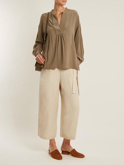 Long-sleeved sandwashed silk-crepe blouse by Vince