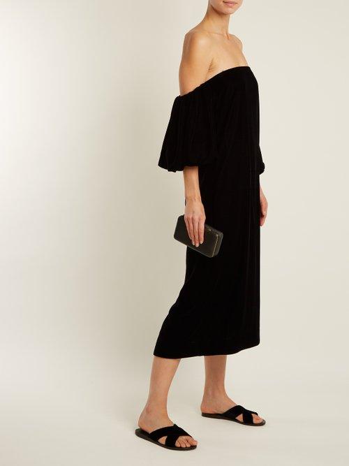 Vanna off-the-shoulder velvet dress by Elizabeth And James