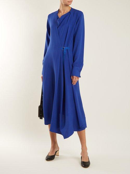Arran waist-tie draped silk-crepe dress by Joseph