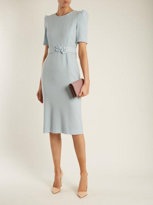 Shop Goat Fawn embellished-waist wool-crepe dress online sale