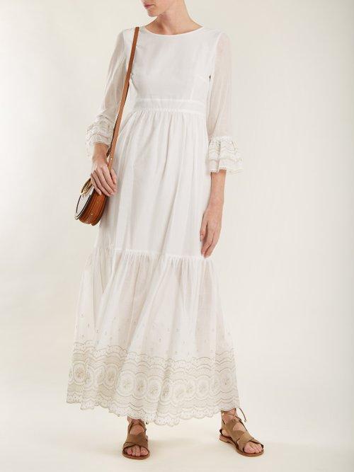 Sunday Morning Lace Trimmed Maxi Dress by Athena Procopiou