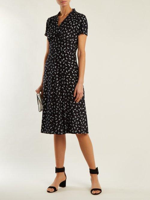 Morgan moon-print short-sleeved silk dress by Hvn
