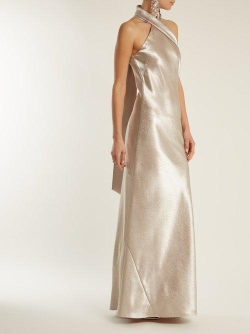 Asymmetrical halterneck satin gown by Galvan