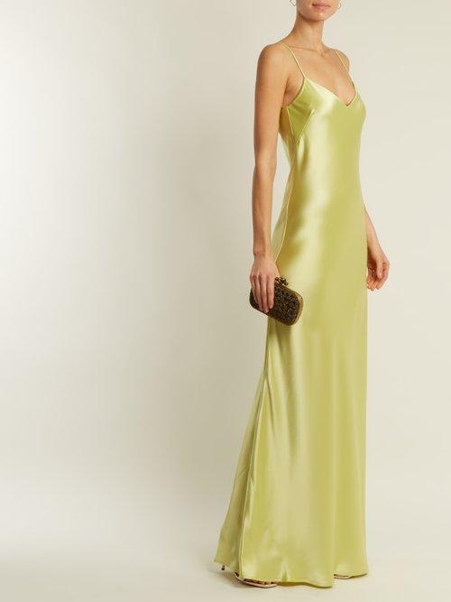 Bias-cut satin-back crepe gown by Galvan