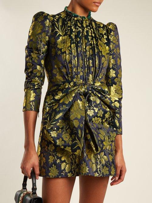 Romantic Flower-jacquard high-neck dress by Gucci