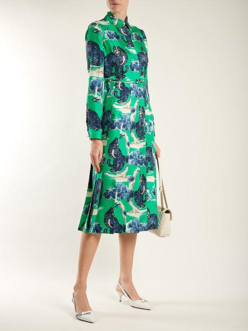 Wild cat-print silk-twill shirt dress by Gucci