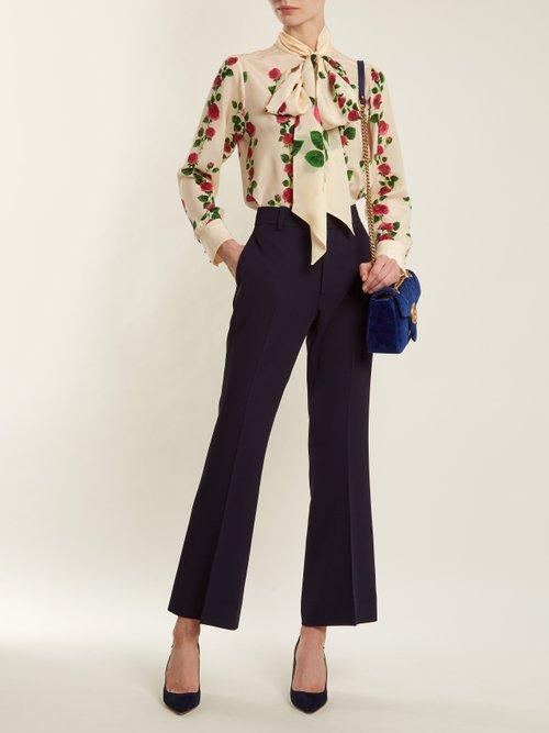Rose Garden-print silk crepe de Chine blouse by Gucci