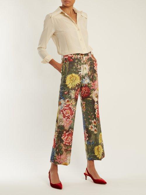 Pintuck-detail silk crepe de Chine shirt by Gucci