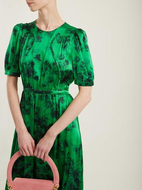 Shop No. 21 Floral-print silk-satin gown online sale