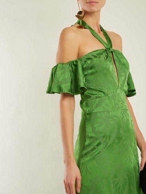 Orbit tie-neck leaf-jacquard satin gown by Temperley London