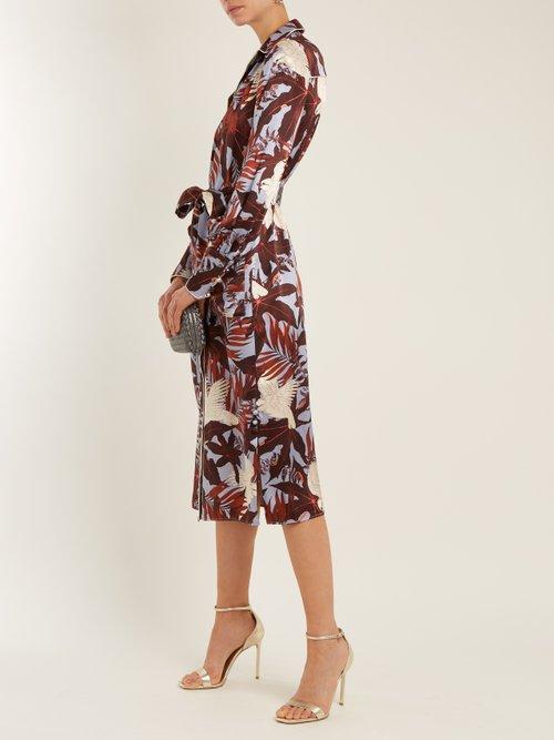 Quenna tie-waist silk-satin shirtdress by Erdem