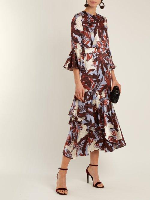 Florence fluted-cuff silk-satin dress by Erdem