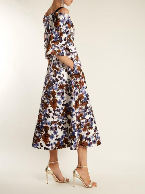 Karol open-shoulder duchess-satin dress by Erdem