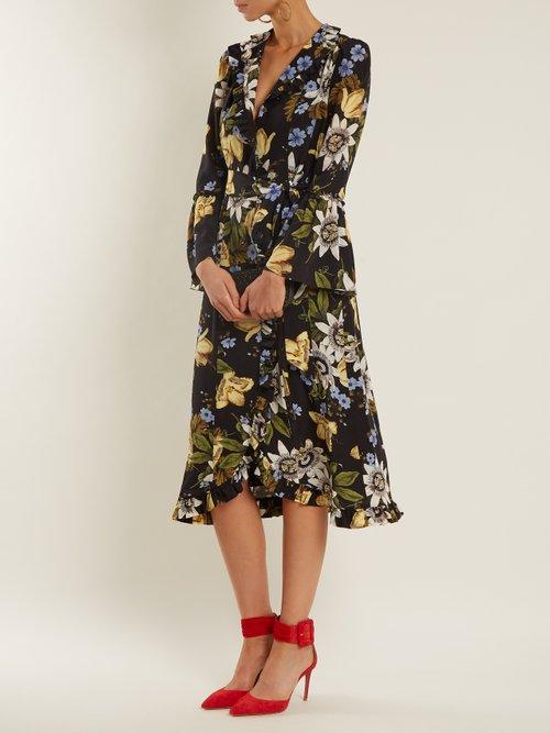 Siren passion flower-print ruffled silk dress by Erdem