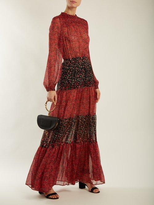 Gloria floral-print panelled dress by Raquel Diniz