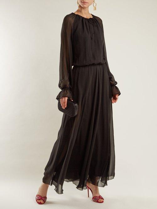 Kate tie-neck silk-chiffon dress by Raquel Diniz