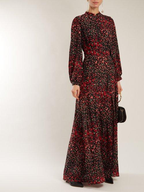 Lila floral-print silk-crepe dress by Raquel Diniz