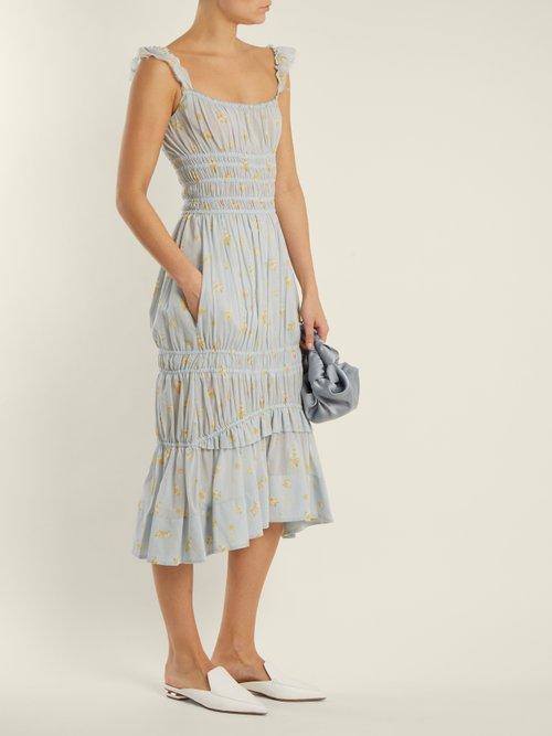 Darren geranium-print smocked cotton dress by Brock Collection
