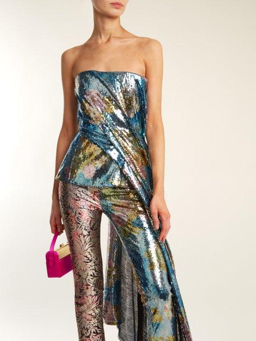 Sequin-embellished asymmetric-draped bustier top by Halpern