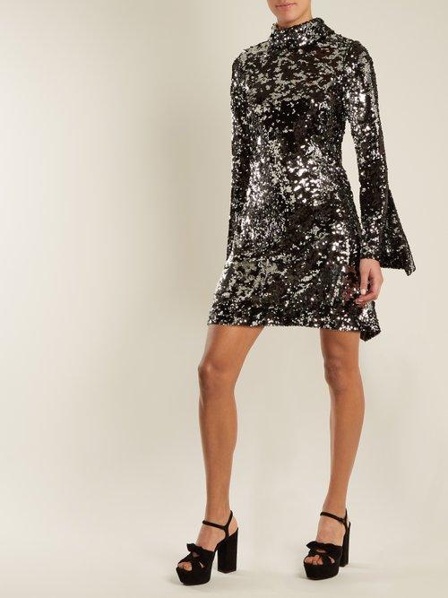 Sequin Embellished High Neck Flared Sleeve Dress by Halpern
