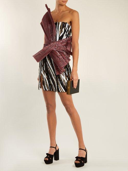 Asymmetric Sequin Embellished Strapless Mini Dress by Halpern