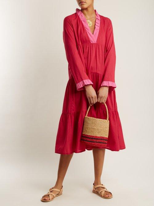 V Neck Contrast Dress by Daft