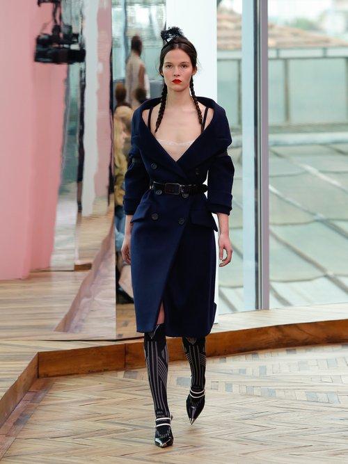 Off The Shoulder Wool Blend Coat by Prada