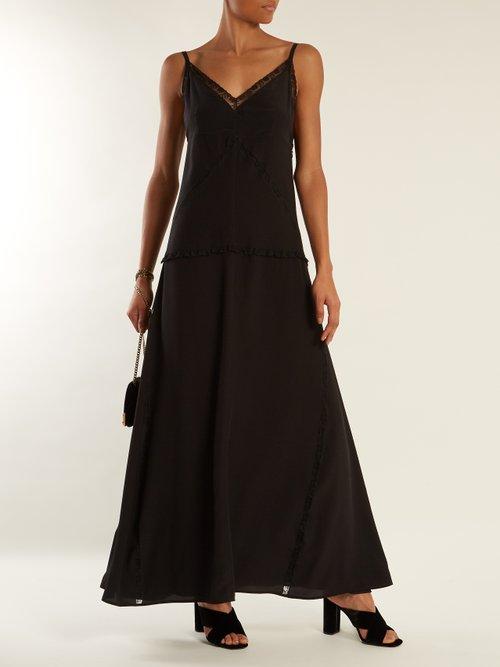 V-neck lace-trimmed silk slip dress by Prada