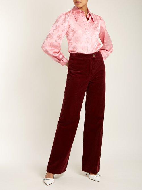 Point-collar floral-jacquard shirt by Alexachung