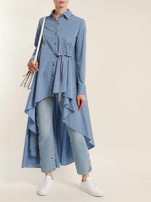 Tie-waist dobby-dot chambray shirt by Palmer/Harding