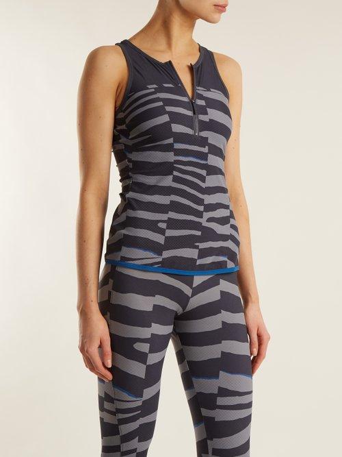 Train Miracle tiger-stripe print tank top by Adidas By Stella Mccartney