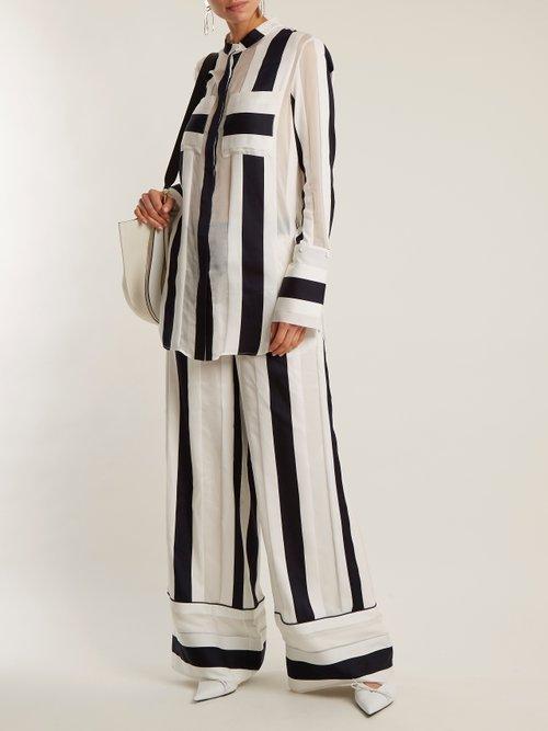 Striped-jacquard cotton-blend shirt by Adam Lippes