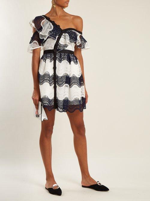 One Shoulder Asymmetric Guipure Lace Dress by Self-Portrait